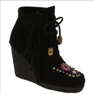 Betsey Johnson Beaded Moccasin Wedges